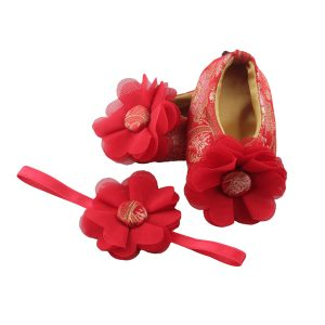 Ballerina shoes with matching Hair accessories for babies